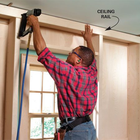 <b>Photo 18: Install the ceiling rail and cove molding</b></br> Nail the ceiling rail over the shelf stiles. Leave a 1/2-in. gap above the rail to allow for an uneven ceiling. Add cove molding to cover the gap.