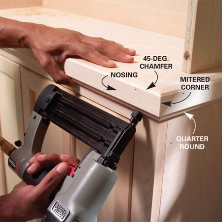 <b>Photo 19: Install the nosing and molding</b></br> Chamfer the nosing with a router and fasten it with glue and nails. Miter the corners. Nail quarter-round molding under the nosing.