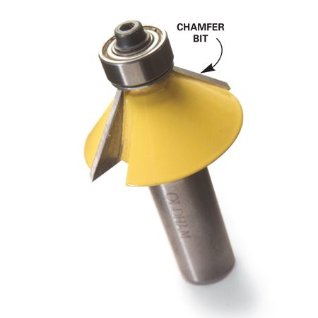 <b>Detail of a chamfer bit</b></br> Use a chamfer router bit to give the railings, nosings and baseboard a profile that matches the cabinet doors.