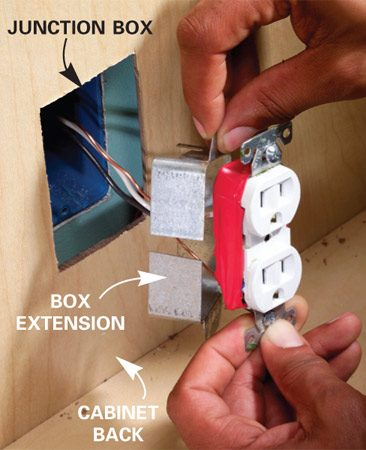 Cut a hole in the cabinet back so you're not covering<br/> an outlet.