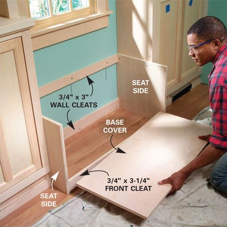 <b>Photo 20: Install the base under the window</b></br> Screw the sides of the window seat into place first (Figure C). Then screw cleats to the wall studs. Nail a cleat at the front, slip the plywood base in and nail it.