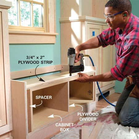 <b>Photo 21: Install the cabinet box</b></br> Center the cabinet box and screw it to the base. Install spacers and tack three layers of 3/4-in. plywood to the top of the box. Hang and align the doors so you can add the rails and stiles.