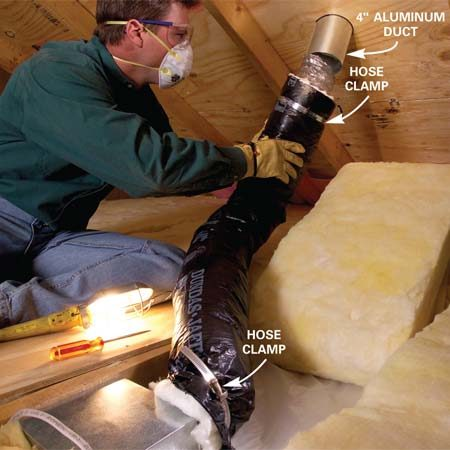 <b>Photo 6: Connect the duct to the vent hood</b></br> Slip the insulation over the duct and secure it with a hose clamp. Connect and insulate the upper end of the duct the same way.