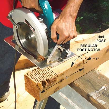 <b>Photo 1: Notch the posts</b></br> Plan the number of 4x4 posts you need and cut them to length (Figure A). Notch the post by making a dozen crosscuts with a circular saw, and then use a wood chisel to chip out the notch until smooth.