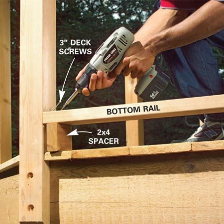 <b>Photo 4: Install the bottom rails</b></br> Measure between two posts to obtain the precise length for the 2x4 rails and 1x3 plates. Cut them to length. Then pre-drill and toe-screw the bottom rails into place using a 2x4 spacer to hold them solid.