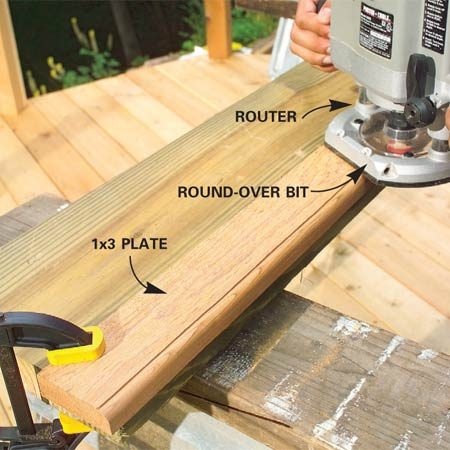 <b>Photo 6: Rout the plates</b></br> Cut the 1x3 plates to match the rails. Clamp and rout their edges—good side up. Adjust the depth so the 3/8-in. corner round-over bit leaves a crisp line at the top.