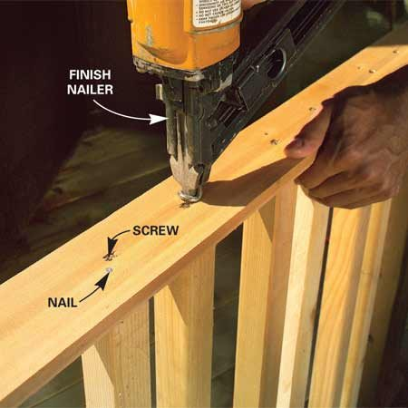 <b>Photo 8: Nail the spindles in place</b></br> Drive a finish nail through the plates into the ends of each spindle to keep them from turning.