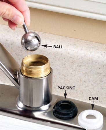 <b>Step 3: Remove the rotary ball</b></br> Photo 3: Lift off the plastic cam and packing. Lift out the ball and inspect it. Replace the ball if it's scratched, cracked or visibly worn.