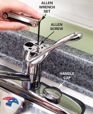 <b>Step 1: Remove the allen screw</b></br> Photo 1: Pry off the handle cap (gently) with a knife. Turn the Allen screw counterclockwise to remove it and lift off the handle.