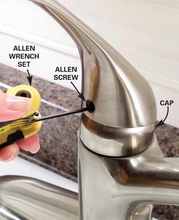 <b>Step 1: Unscrew the handle</b></br> Photo 1: Pry off the decorative screw cover with your fingernail or the tip of a knife. Unscrew the handle screw by turning it counterclockwise with an Allen wrench. Lift off the handle. Unscrew or unclip the cap.