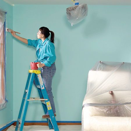 <b>Photo 1: Clear the deck</b><br/>Cramped working conditions lead to messy accidents. Every painter has stepped in a paint pan or kicked over a pail while squeezing a ladder past the couch. If you can&#39;t move furniture and other big stuff completely out of the room, stack it up. Set upholstered chairs upside down on the sofa. Cover the dining room tabletop with cardboard so you can set chairs on top of it. But don&#39;t let your stack become an obstacle. Get out your ladder and roller and make a dry run to be sure you can easily reach all parts of the ceiling. In some cases, two smaller stacks with space for a ladder between them is better than one. Maintain a generous workspace of at least 3 ft. between the stack and the walls. Cover your furniture stack with plastic. Even if you&#39;re careful, some drips and splatters are likely. A couple of bands of duct tape will keep the plastic in place and hold the stack together if you bump into it.