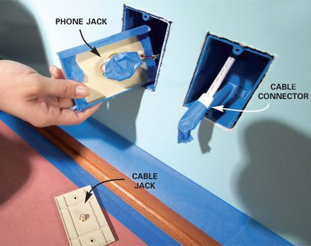 <b>Photo 7: Keep connections clean</b><br/>A little paint in the wrong place can cripple the connections that serve your phone, TV or computer. To protect phone jacks without disconnecting all those tiny wires, unscrew the faceplate and cover the front with masking tape. Then mask the terminals on the backside of the plate. Slip the plate into the junction box. Disconnect coaxial cable from its plate and tape the cable&#39;s connector.