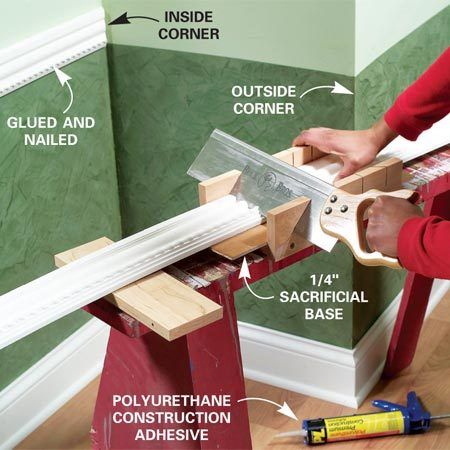 <b>Photo 2: Cut the moldings</b></br> Measure the length, then cut the moldings with 45-degree bevel cuts in the corners and glue the backsides and joints with polyurethane molding adhesive.