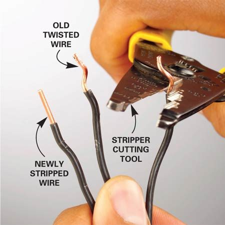 <b>Use a stripper tool to expose clean, bare wire</b></br>