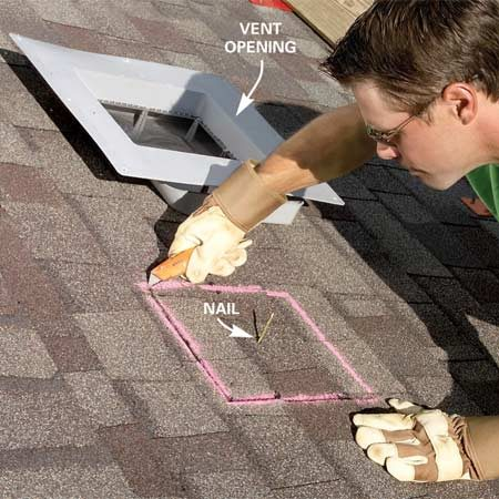<b>Photo 2: Cut the shingles</b></br> Cut shingles with a utility knife. Make the cutout area 1/2 in. larger than the vent opening. Chalk provides an easy-to-see cutting line.