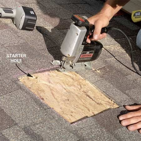 <b>Photo 3: Cut the hole</b></br> Cut a hole in the roof sheathing with a jigsaw or reciprocating saw. Drill a starter hole so you can insert the blade to begin the cut.