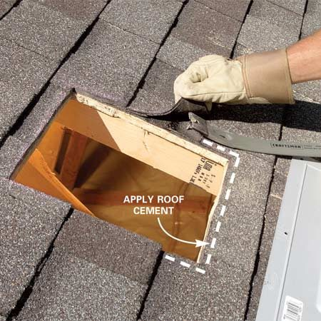 <b>Photo 4: Remove any obstructions</b></br> Slip a pry bar between the shingles and separate the self-sealing adhesive. Then remove any shingle nails that prevent the vent from sliding into place.