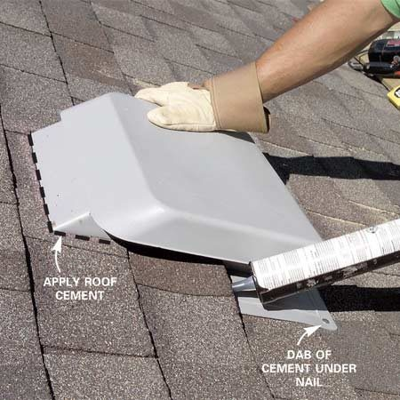 <b>Photo 6: Install the vent</b></br> Apply roof cement where shingles meet the vent. Add a dab of cement to secure the shingles to the vent base.
