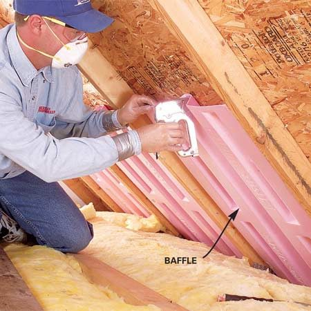<b>Photo 9: Install baffles</b></br> Staple baffles into the spaces between rafters so air flowing in through the vents can flow past the insulation.