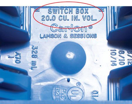 <b>Close up</b></br> Volume stamped in back of plastic box.