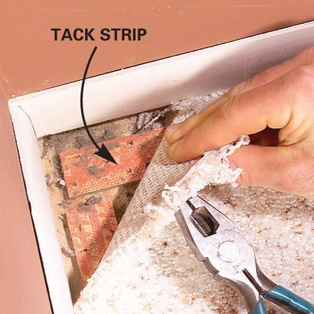 <b>Close-up of Photo 1</b></br> Pull the carpet off the tack strips.