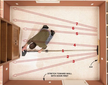 <b>Photo 9A: Power stretch the length   </b></br> Power-stretch the length first, following the numbered sequence shown. Beginning at one end of the built-in, stretch the carpet and then push the carpet backing into the tack strip with your hand. Stretch in 18-in. increments, moving first toward any side wall that has a door. Then finish stretching against the built-in and the wall at the other end.
