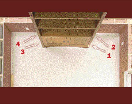 <b>Photo 9D: Knee-kick the tight areas</b></br> Knee-kick the tight areas, working from the front of built-in toward the wall.