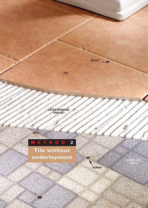 <b>Method 2: Tile without underlayment</b></br> If the floor is stiff enough to tile directly on the vinyl, sand or strip the floor and screw the vinyl down before tiling.