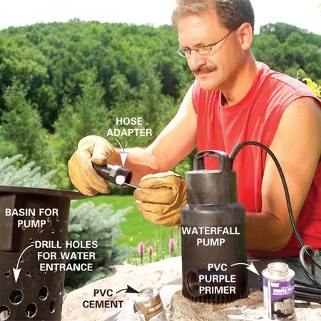 <b>Photo 3: Prepare the basin and pump</b><br/>Drill holes in the basin using three different size hole saw bits (see Figure C). Prime, cement and attach the hose adapter to the pump.