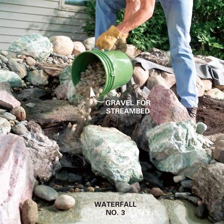 <b>Photo 11: Add boulders to complete </b><br/>Add a top layer of small boulders to complete the upper pool and streambed. Place steppingstones in the middle of the stream and the stones below the waterfalls. Cover the rest of the streambed liner with gravel.