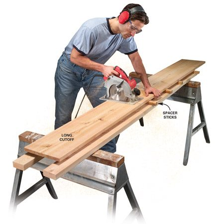 <b>Cross-cutting a long board</b></br>  Support long cutoffs by stacking boards and separating them with strips of wood as shown. Make sure the end of the cutoff is free to drop.