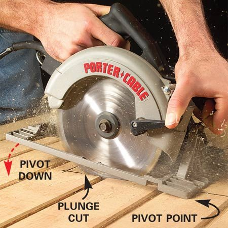 <b>Photo 2: Lower the blade into the wood</b></br> Start the saw and let it come up to full speed. Gradually pivot the saw down to start the cut. Hold the saw firmly so it doesn't jump back.