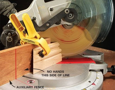 <b>Photo 2: Use clamps on small pieces</b></br> Clamp short pieces of molding. Use strong spring clamps or C-clamps.