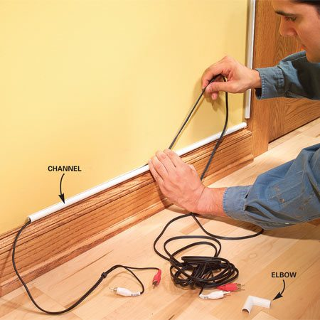 <b>Install plastic raceways</b></br> Plastic raceways are a low-impact way to run wires along trim.