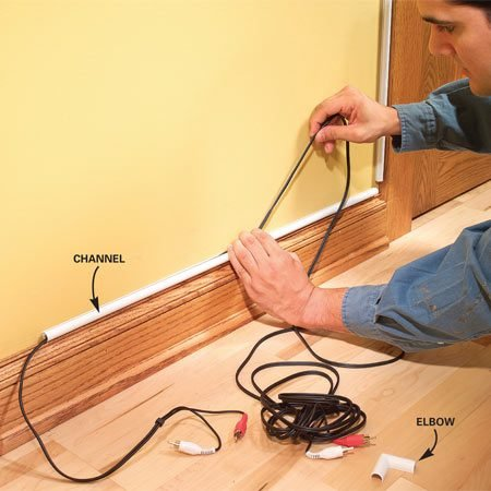 <b>Install plastic raceways</b><br/>Plastic raceways are a low-impact way to run wires along trim.