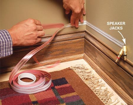 <b>Exposed speaker jacks</b></br> You can either leave speaker jacks dangling from the wall or for a neater look, install a remodeling box.
