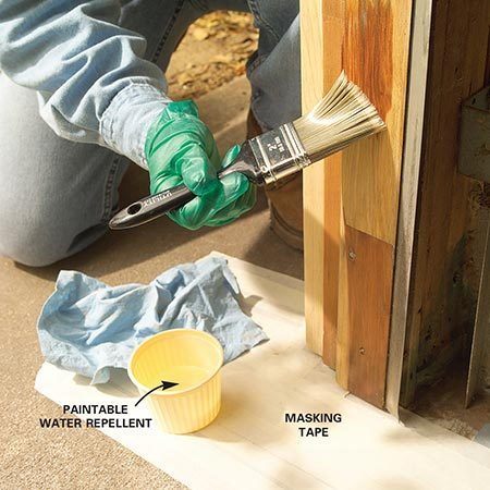 <b>Photo 4: Seal the wood</b></br> Brush the bare wood with paintable water repellent. Keep repellent off existing paint. Wipe off any repellent that doesn't soak in.