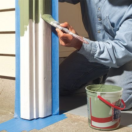 <b>Photo 7: Paint the trim</b></br> Protect the trim with two coats of quality latex paint. Apply paint to the underside of the trim the same way you applied the primer.