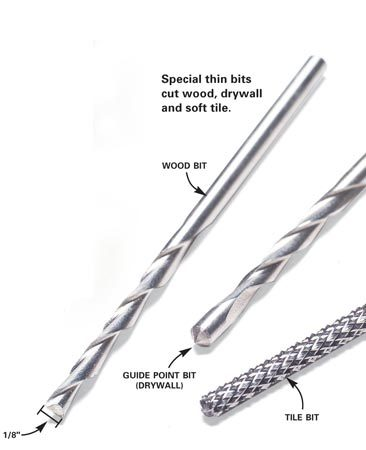 <b>Special thin bits</b></br> Special thin bits cut wood, drywall and soft tile.