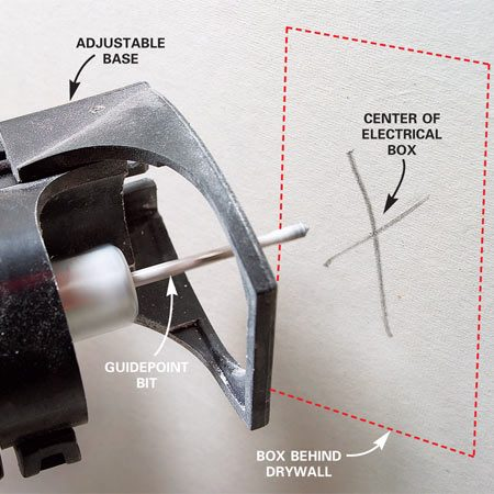 <b>Photo 1: Push the bit tip into the box center</b></br> Mark the approximate center of the box. Hang the sheet with several screws placed at least 16 in. away from the box. Plunge the tip of the spinning bit into the drywall at your mark.