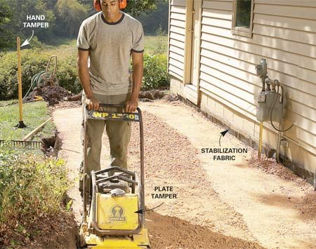 <b>Photo 4: Spread and compact gravel</b></br> Lay fabric over the excavation, spread 2 to 3 in. of gravel and rake it smooth. Dampen the gravel, then pass over the area at least four times with a plate compactor. Repeat with a second 2- to 3-in. layer of gravel.