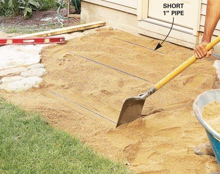 <b>Photo 11: Screed sand for the bricks</b></br> Rest 1-in. pipes on the compacted gravel, using a short pipe in areas enclosed by stone. Check the slope as in Photo 6, then add sand. Screed the sand off with your 2x4.