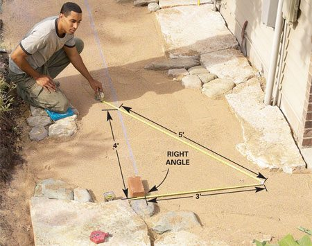 "<b>Photo 13: Establish a right angle</b></br> Snap a chalk line in the sand 6-1/2 brick lengths (about 50-1/2 in.) away from the house. Set a brick at a starting point along the chalk line. Then establish a right angle using the ""3, 4, 5 triangle"" method."