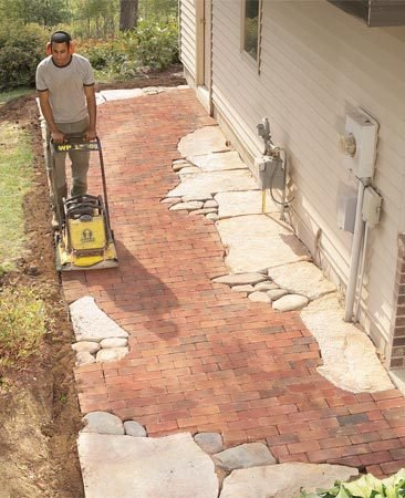 How to build pathways brick and stone pathways the for Mixing brick and stone