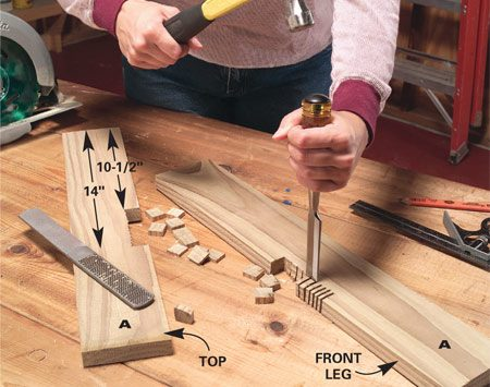 <b>Photo 1: Cut the leg notches</b></br> Clamp the two front legs together, measure for the 3/4-in. deep notch and make repeated cuts with your circular saw set to 3/4-in. depth of cut. Chisel the pieces between the cuts and then file smooth.