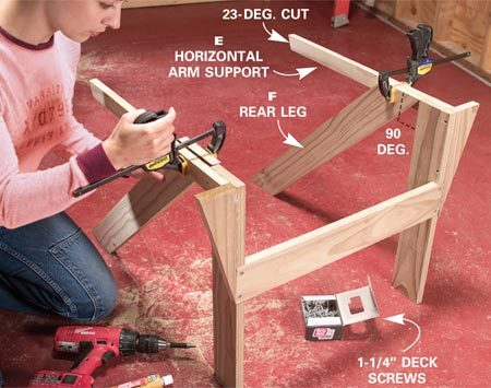 <b>Photo 5: Attach the rear legs</b></br> Fasten the horizontal arm supports (E) at 90 degrees to the front legs. Then glue, drill and screw the rear legs to the arm supports, making sure the arm supports are parallel to the floor.