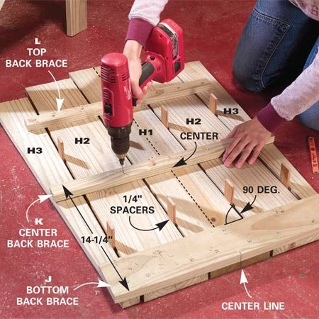 <b>Photo 8: Assemble the back braces and slats</b></br> Set the back slats on a flat surface with 1/4-in. wide spacers. Center the back braces on the slats. Glue, drill and screw them with 1-1/4 in. deck screws.