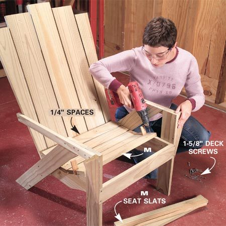 <b>Photo 10: Screw the seat slats to the braces</b></br> Space the seat slats (M), evenly starting at the back. Drill one pilot hole on each end of the slats and screw them to the seat brace. Screw the front seat slat to the seat brace as well as the front stretcher (B).