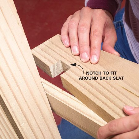 <b>Photo 12: Install the arm</b></br> Notch the arm with a handsaw and fasten it to the horizontal support, the top edge of the back legs and to the front leg and arm support with 1-5/8 in. screws and glue.