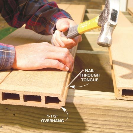 <b>Photo 10: Nail the decking</b></br> Slide the tongues and grooves together and line up the ends. Then nail through the tongue into each joist at the angle shown. Use 10d stainless steel ring shank nails.